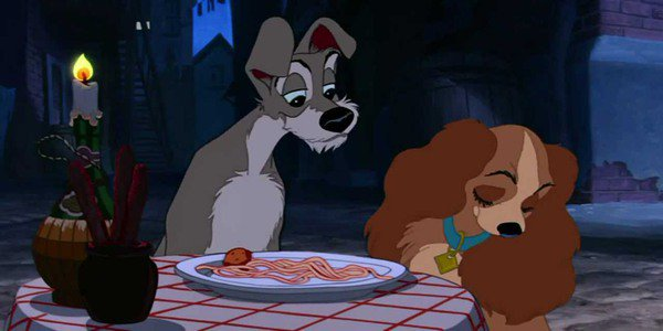 Disney S Lady And The Tramp Poster Features The Famous Spaghetti Scene Nestia