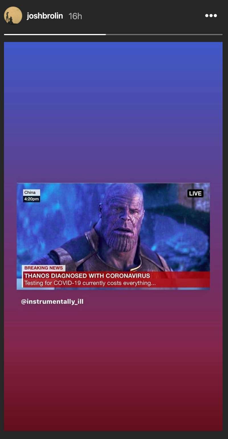 Josh Brolin Shares Coronavirus Meme Featuring Thanos